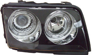 AUDI 100 '90-'94 HEAD LAMP (CRYSTAL BLACK)RIM