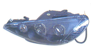PEUGEOT 206 '98  HEAD LAMP(CRYSTAL RIM) BLACK